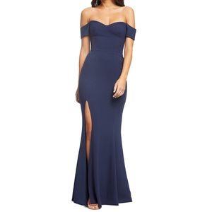 Dress the Population off shoulder maxi dress (L1/7
